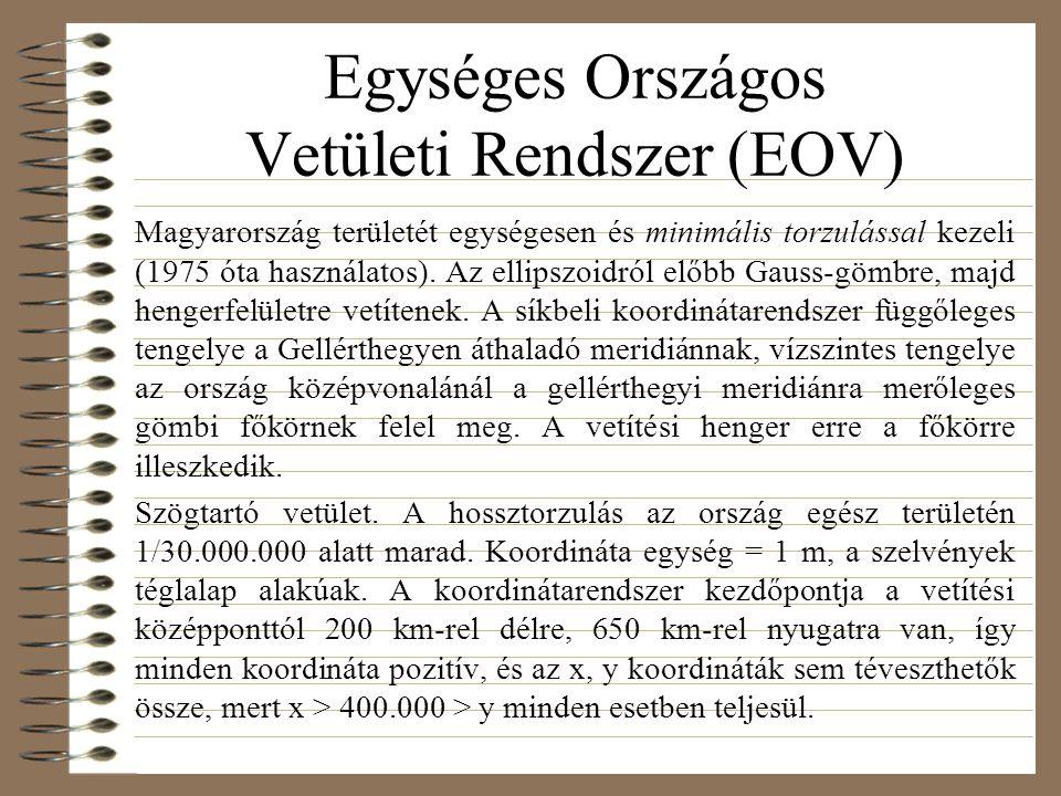 Egységes Országos Vetületi Rendszer (EOV) Magyarország területét egységesen és minimális torzulással kezeli (1975 óta használatos).