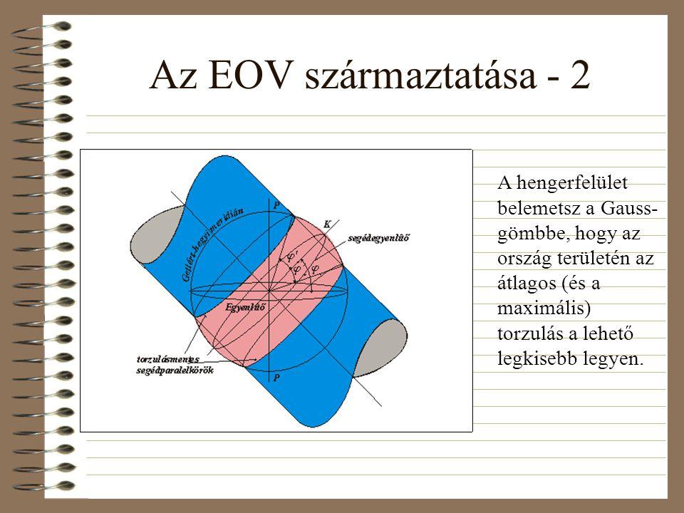 Az EOV származtatása - 2 A hengerfelület belemetsz a Gauss- gömbbe, hogy az ország területén az átlagos (és a maximális) torzulás a lehető legkisebb legyen.