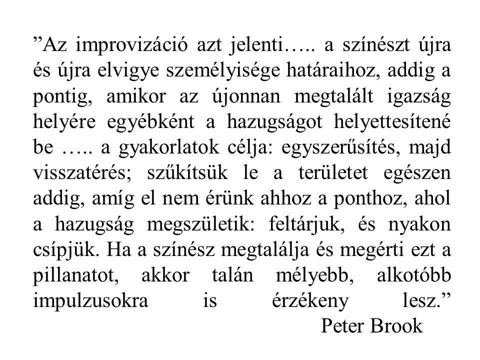 """""""Az improvizáció azt jelenti….. a színészt újra és újra elvigye személyisége határaihoz, addig a pontig, amikor az újonnan megtalált igazság helyére e"""