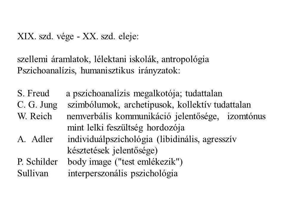 XIX. szd. vége - XX. szd. eleje: szellemi áramlatok, lélektani iskolák, antropológia Pszichoanalízis, humanisztikus irányzatok: S. Freud a pszichoanal