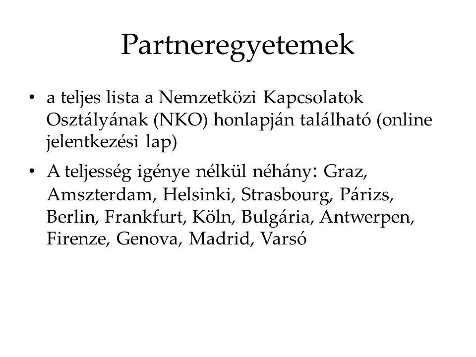 Partneregyetemek a teljes lista a Nemzetközi Kapcsolatok Osztályának (NKO) honlapján található (online jelentkezési lap) A teljesség igénye nélkül néhány : Graz, Amszterdam, Helsinki, Strasbourg, Párizs, Berlin, Frankfurt, Köln, Bulgária, Antwerpen, Firenze, Genova, Madrid, Varsó