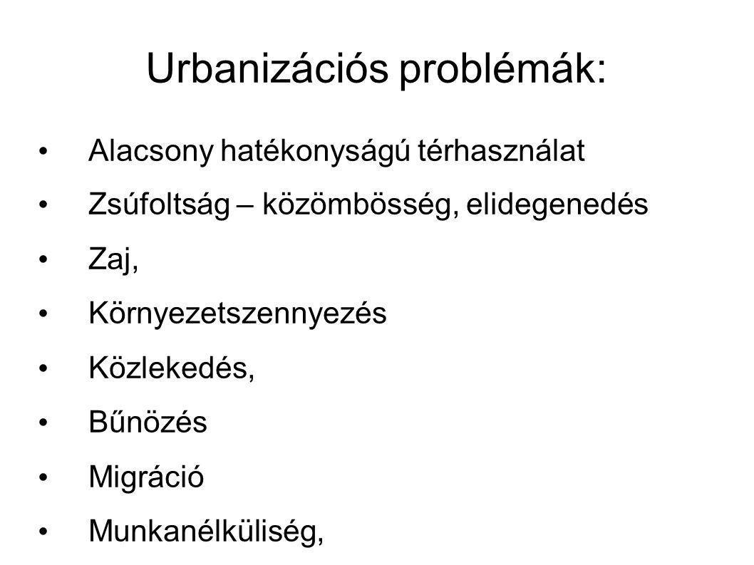 Urbanizációs problémák: Alacsony hatékonyságú térhasználat Zsúfoltság – közömbösség, elidegenedés Zaj, Környezetszennyezés Közlekedés, Bűnözés Migráció Munkanélküliség, Devianciák