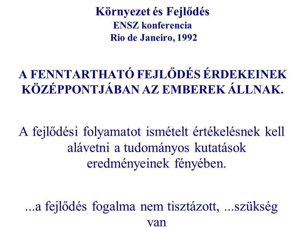 Környezet és Fejlődés ENSZ konferencia Rio de Janeiro, 1992 A FENNTARTHATÓ FEJLŐDÉS ÉRDEKEINEK KÖZÉPPONTJÁBAN AZ EMBEREK ÁLLNAK.