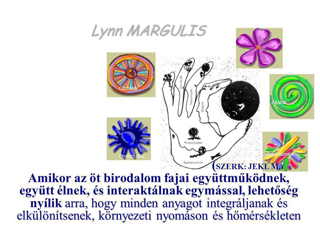 Lynn MARGULIS Protoctisták Baktériumok Állatok Gombák Növények arra, hogy minden anyagot integráljanak és elkülönítsenek, környezeti nyomáson és hőmérsékleten ( SZERK: JEKL M.) Amikor az öt birodalom fajai együttműködnek, együtt élnek, és interaktálnak egymással, lehetőség nyílik arra, hogy minden anyagot integráljanak és elkülönítsenek, környezeti nyomáson és hőmérsékleten