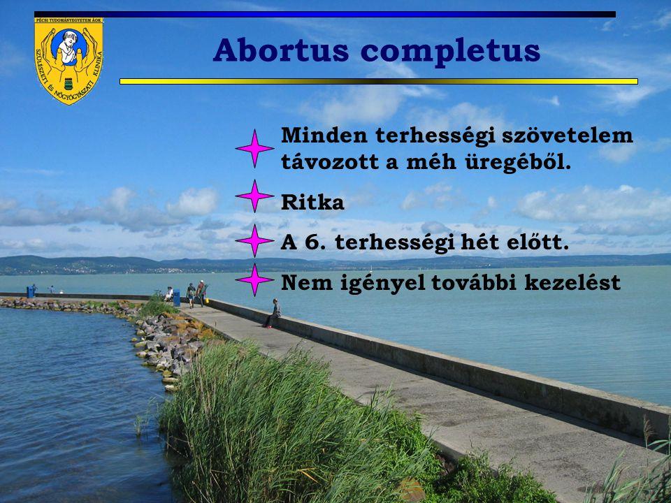 Abortus completus Minden terhességi szövetelem távozott a méh üregéből. Ritka A 6. terhességi hét előtt. Nem igényel további kezelést