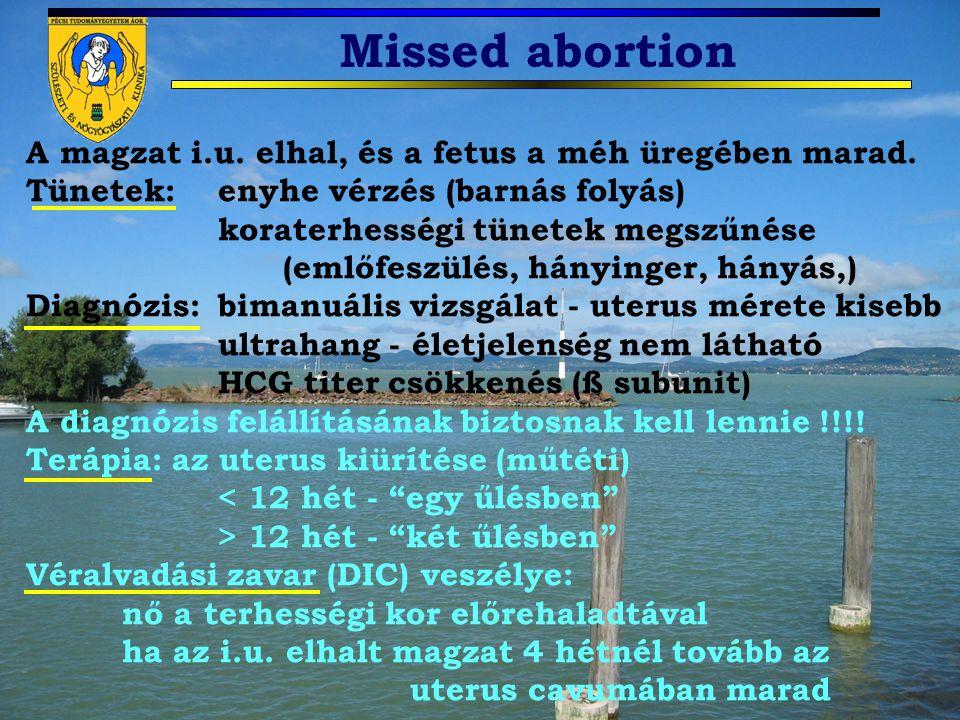 Missed abortion A magzat i.u. elhal, és a fetus a méh üregében marad. Tünetek: enyhe vérzés (barnás folyás) koraterhességi tünetek megszűnése (emlőfes