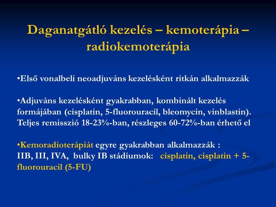 Első vonalbeli neoadjuváns kezelésként ritkán alkalmazzák Adjuváns kezelésként gyakrabban, kombinált kezelés formájában (cisplatin, 5-fluorouracil, bleomycin, vinblastin).