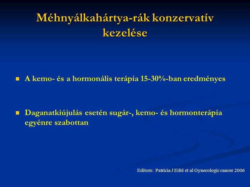 Méhnyálkahártya-rák konzervatív kezelése A kemo- és a hormonális terápia 15-30%-ban eredményes Daganatkiújulás esetén sugár-, kemo- és hormonterápia egyénre szabottan Editors: Patricia J Eifel et al Gynecologic cancer 2006