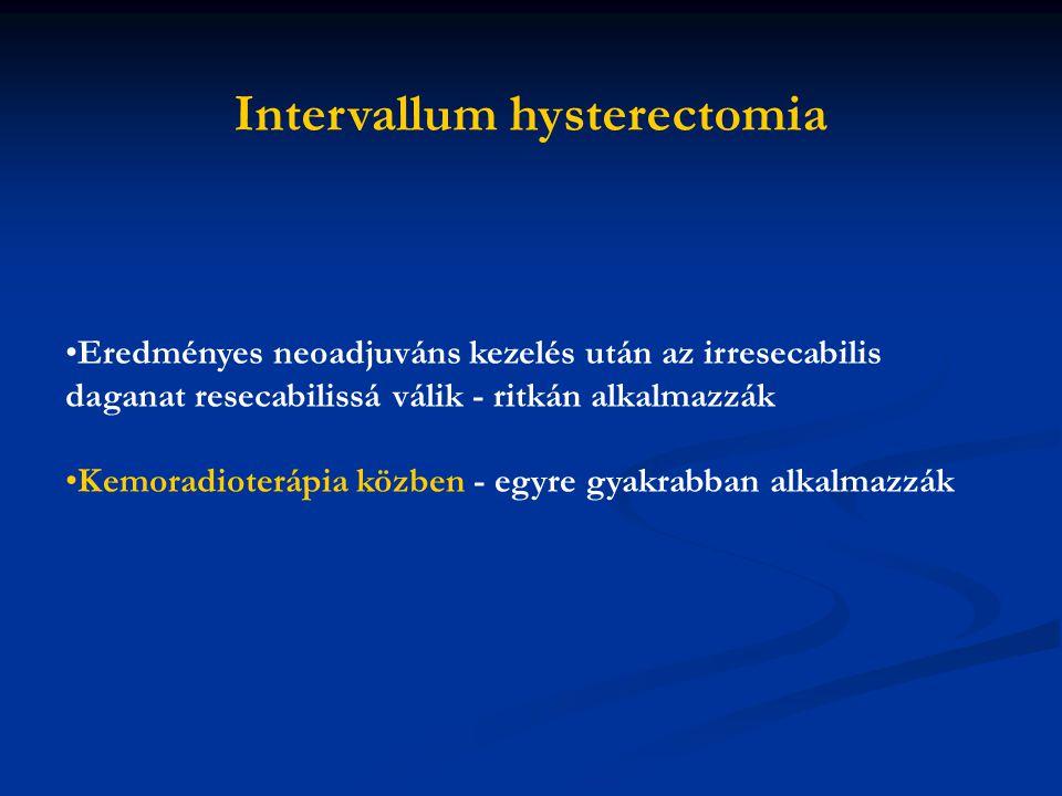 Eredményes neoadjuváns kezelés után az irresecabilis daganat resecabilissá válik - ritkán alkalmazzák Kemoradioterápia közben - egyre gyakrabban alkalmazzák Intervallum hysterectomia