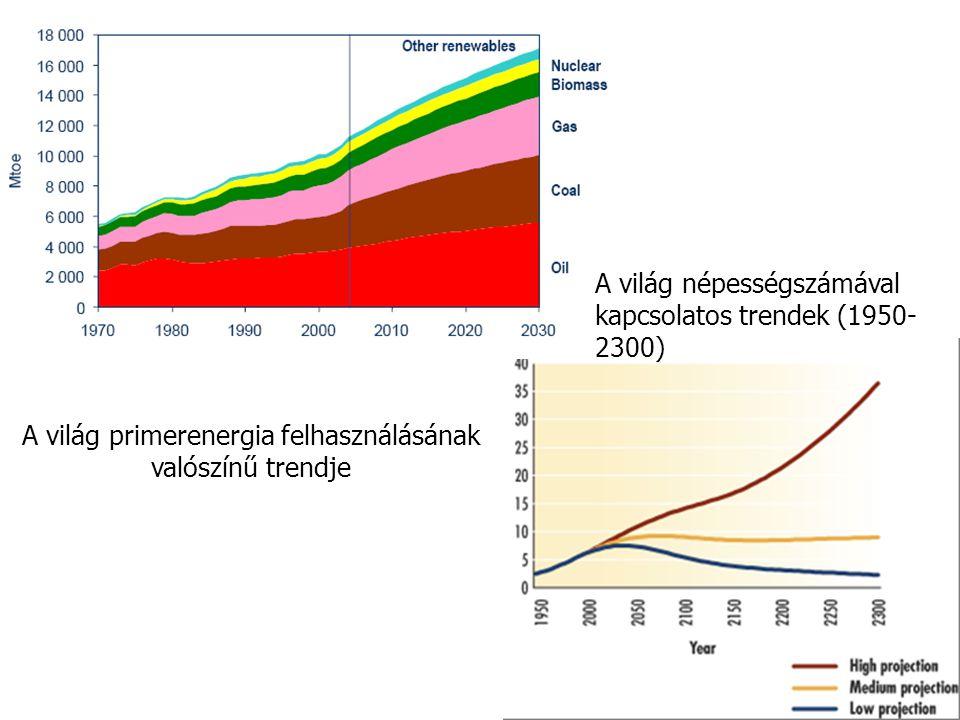 A világ primerenergia felhasználásának valószínű trendje A világ népességszámával kapcsolatos trendek (1950- 2300)