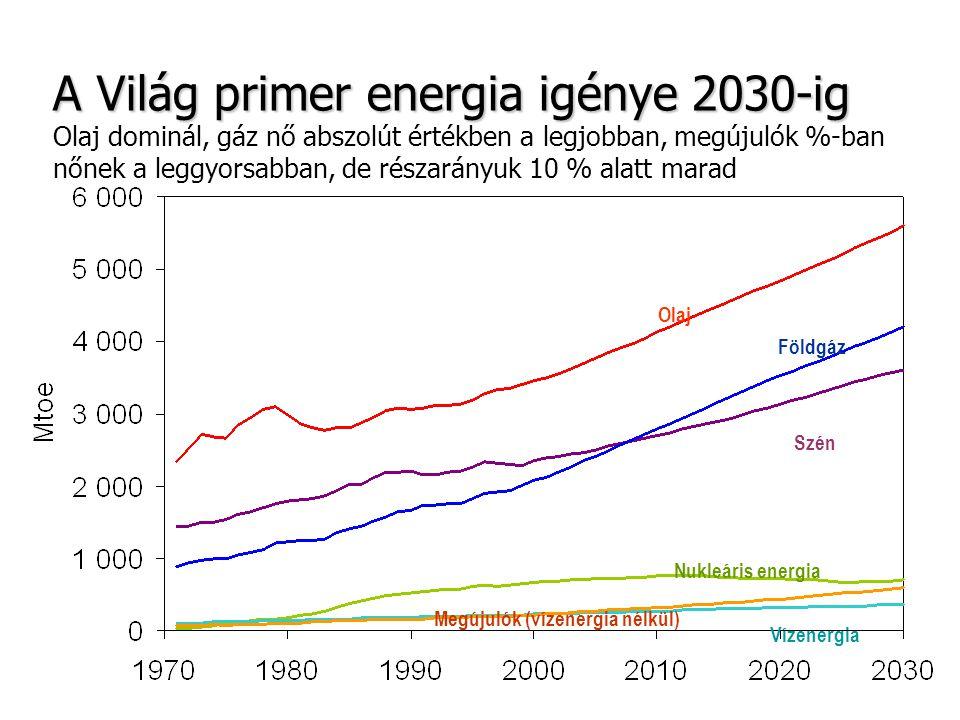 A Világ primer energia igénye 2030-ig A Világ primer energia igénye 2030-ig Olaj dominál, gáz nő abszolút értékben a legjobban, megújulók %-ban nőnek
