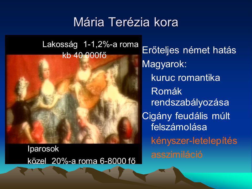 Mária Terézia kora Erőteljes német hatás Magyarok: kuruc romantika Romák rendszabályozása Cigány feudális múlt felszámolása kényszer-letelepítés asszimiláció Lakosság 1-1,2%-a roma kb 40 000fő Iparosok közel 20%-a roma 6-8000 fő