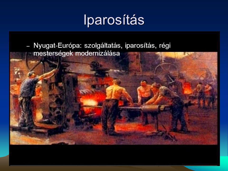Iparosítás – Nyugat-Európa: szolgáltatás, iparosítás, régi mesterségek modernizálása
