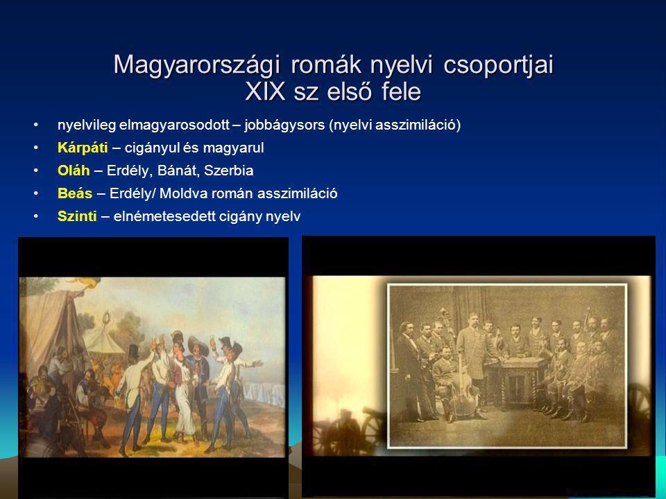Magyarországi romák nyelvi csoportjai XIX sz első fele nyelvileg elmagyarosodott – jobbágysors (nyelvi asszimiláció) Kárpáti – cigányul és magyarul Ol