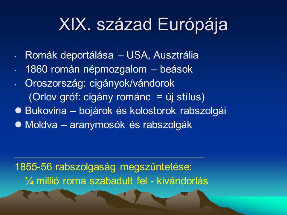 XIX. század Európája Romák deportálása – USA, Ausztrália 1860 román népmozgalom – beások Oroszország: cigányok/vándorok (Orlov gróf: cigány románc = ú