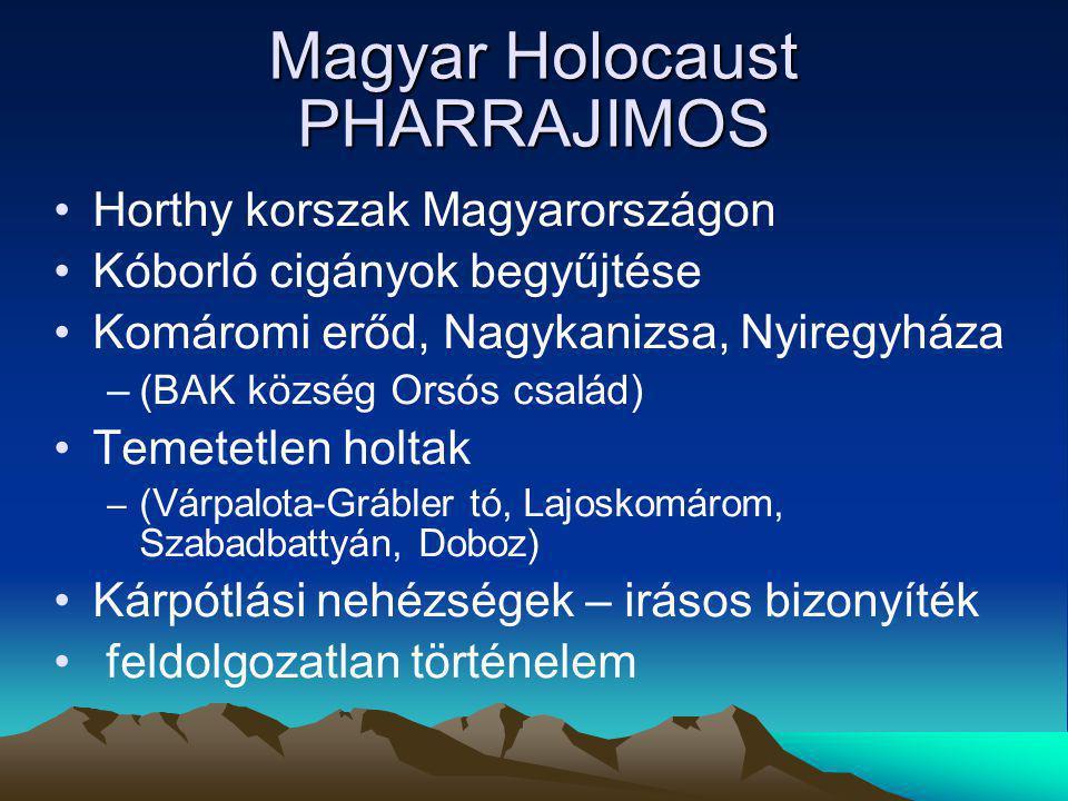 Magyar Holocaust PHARRAJIMOS Horthy korszak Magyarországon Kóborló cigányok begyűjtése Komáromi erőd, Nagykanizsa, Nyiregyháza –(BAK község Orsós csal