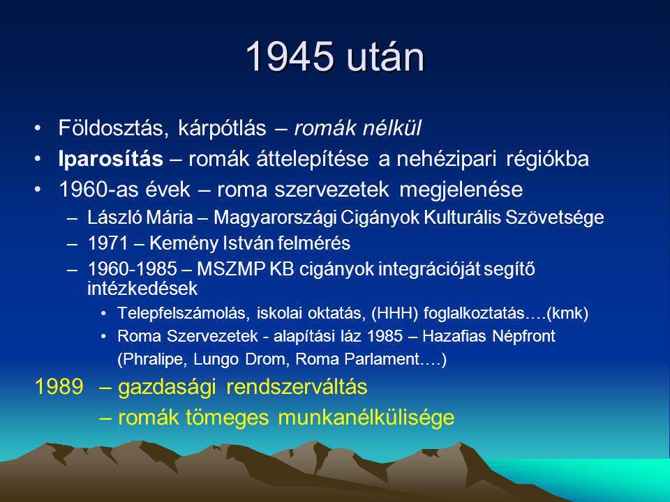 1945 után Földosztás, kárpótlás – romák nélkül Iparosítás – romák áttelepítése a nehézipari régiókba 1960-as évek – roma szervezetek megjelenése –Lász