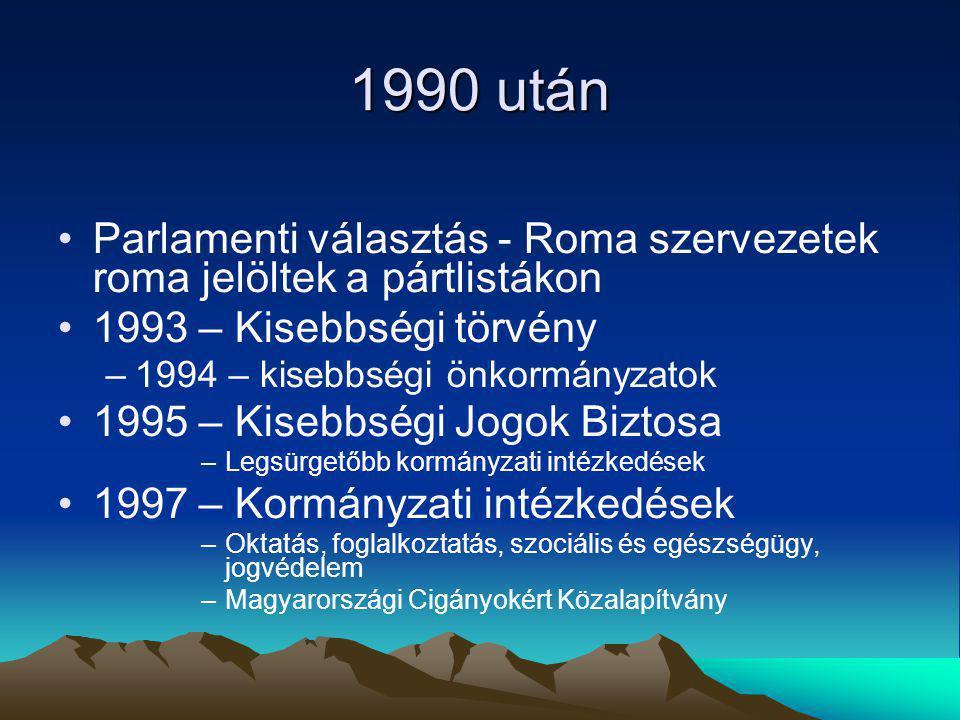 1990 után Parlamenti választás - Roma szervezetek roma jelöltek a pártlistákon 1993 – Kisebbségi törvény –1994 – kisebbségi önkormányzatok 1995 – Kisebbségi Jogok Biztosa –Legsürgetőbb kormányzati intézkedések 1997 – Kormányzati intézkedések –Oktatás, foglalkoztatás, szociális és egészségügy, jogvédelem –Magyarországi Cigányokért Közalapítvány