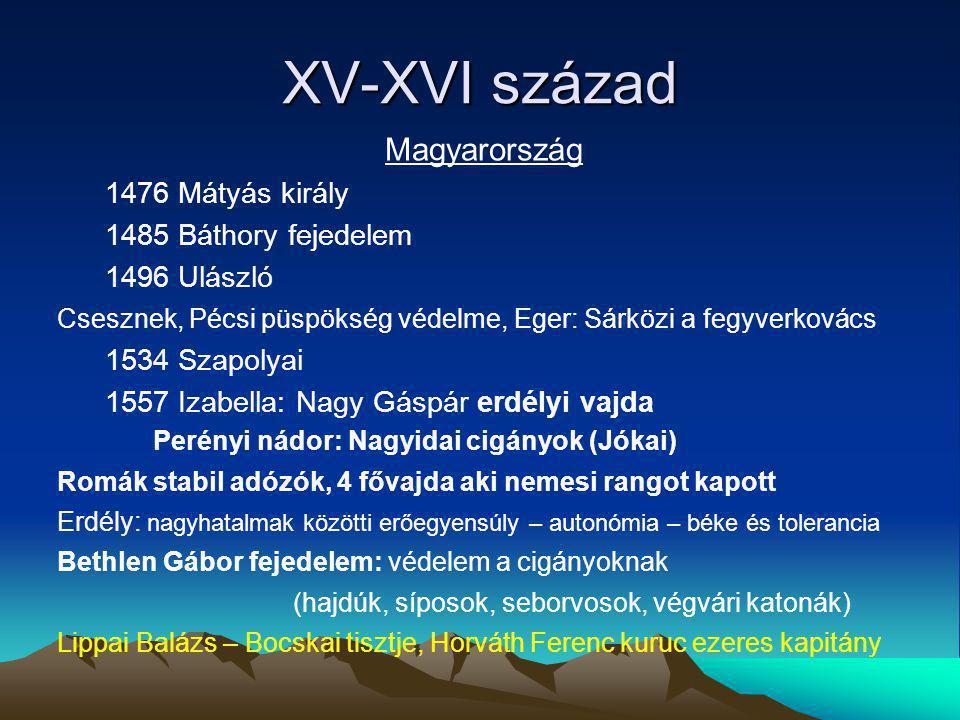 XV-XVI század Magyarország 1476 Mátyás király 1485 Báthory fejedelem 1496 Ulászló Csesznek, Pécsi püspökség védelme, Eger: Sárközi a fegyverkovács 153
