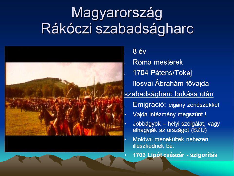 Magyarország Rákóczi szabadságharc 8 év Roma mesterek 1704 Pátens/Tokaj Ilosvai Ábrahám fővajda szabadságharc bukása után Emigráció: cigány zenészekkel Vajda intézmény megszűnt .