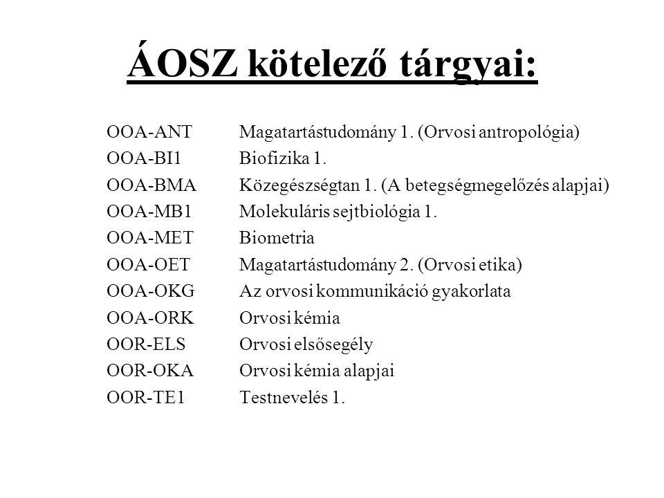 ÁOSZ kötelező tárgyai: OOA-ANT Magatartástudomány 1. (Orvosi antropológia) OOA-BI1 Biofizika 1. OOA-BMA Közegészségtan 1. (A betegségmegelőzés alapjai