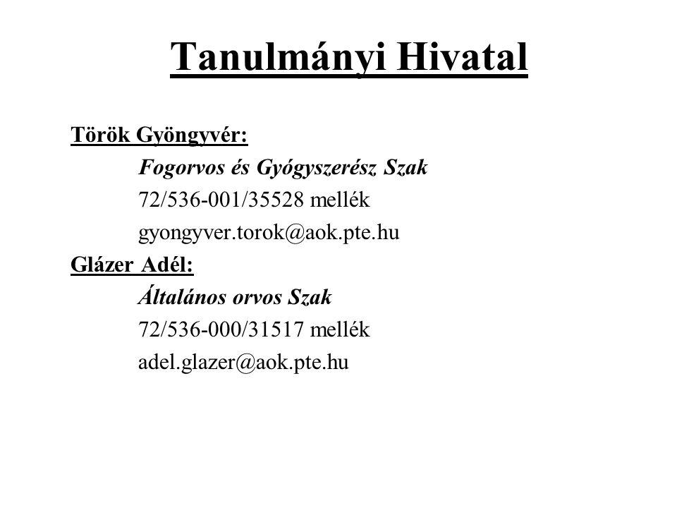Tanulmányi Hivatal Török Gyöngyvér: Fogorvos és Gyógyszerész Szak 72/536-001/35528 mellék gyongyver.torok@aok.pte.hu Glázer Adél: Általános orvos Szak