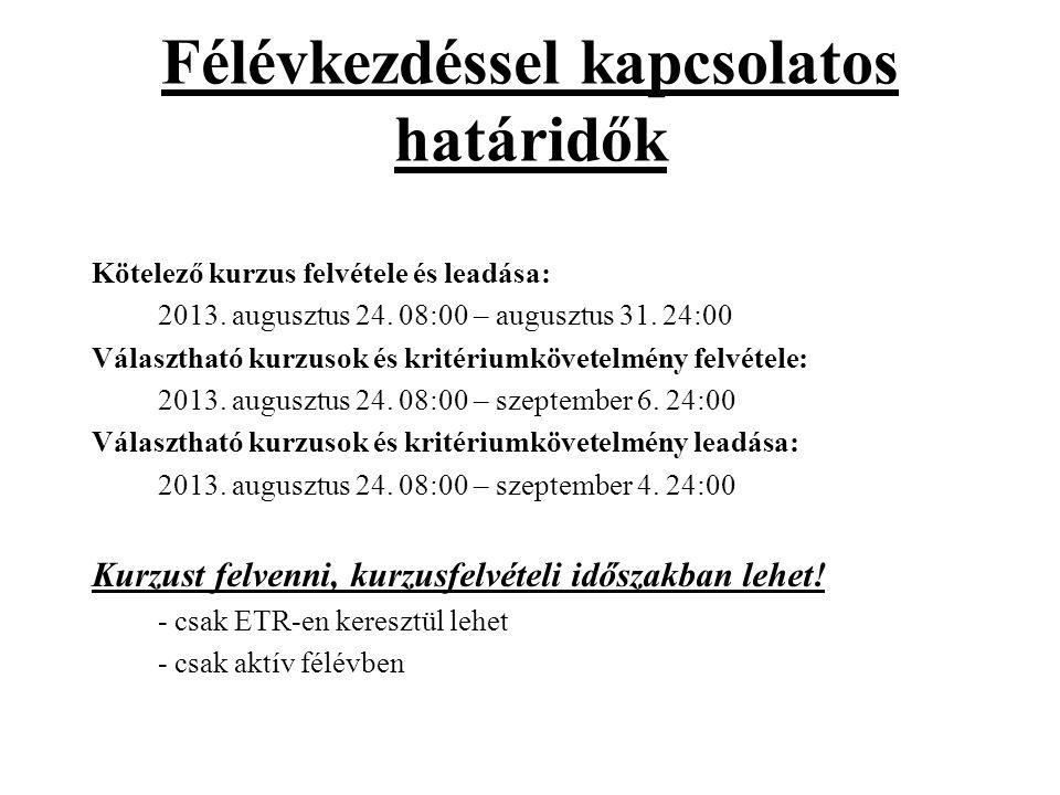 Félévkezdéssel kapcsolatos határidők Kötelező kurzus felvétele és leadása: 2013. augusztus 24. 08:00 – augusztus 31. 24:00 Választható kurzusok és kri