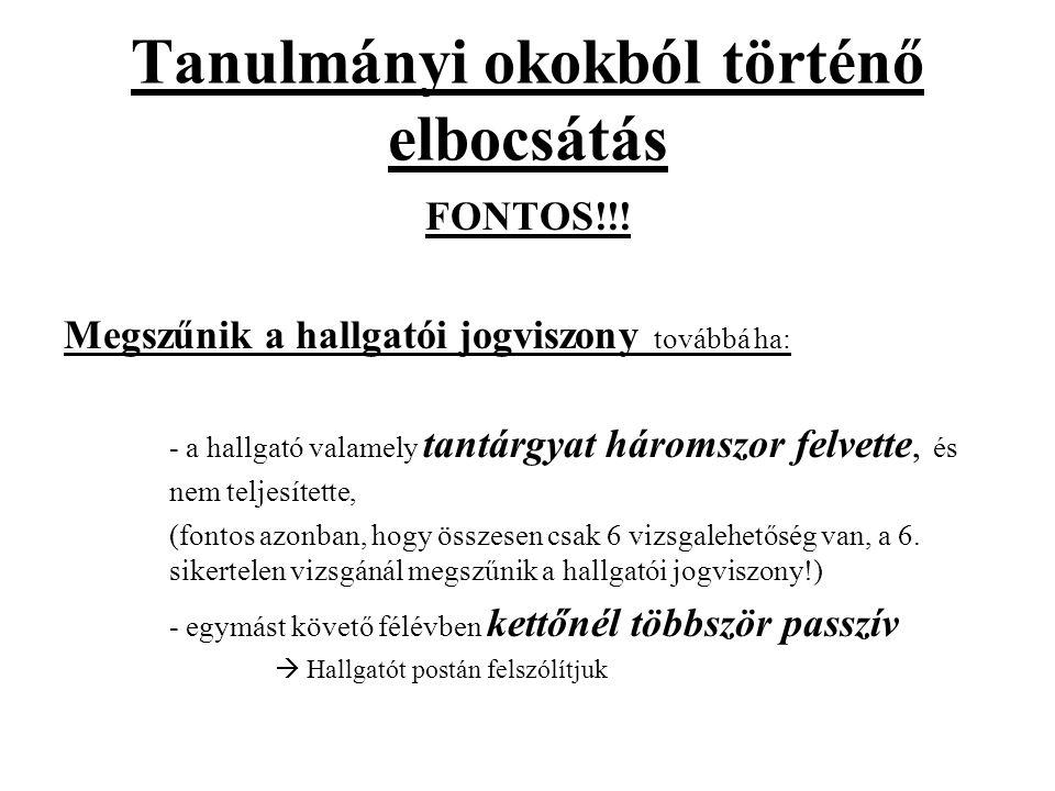 Tanulmányi okokból történő elbocsátás FONTOS!!.