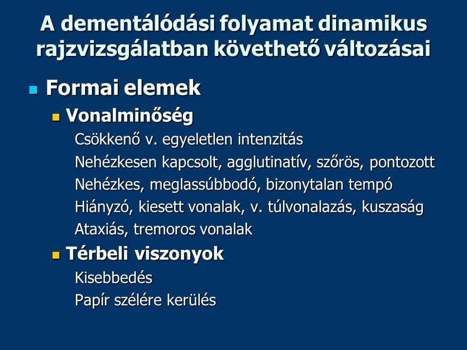 A dementálódási folyamat dinamikus rajzvizsgálatban követhető változásai Formai elemek Formai elemek Vonalminőség Vonalminőség Csökkenő v. egyeletlen