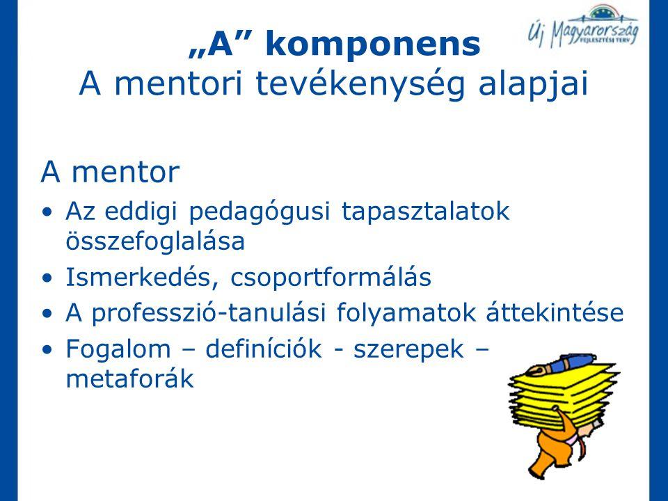 """""""A"""" komponens A mentori tevékenység alapjai A mentor Az eddigi pedagógusi tapasztalatok összefoglalása Ismerkedés, csoportformálás A professzió-tanulá"""