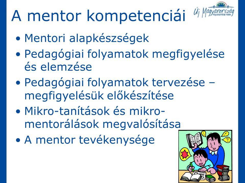 Mentori alapkészségek Pedagógiai folyamatok megfigyelése és elemzése Pedagógiai folyamatok tervezése – megfigyelésük előkészítése Mikro-tanítások és m