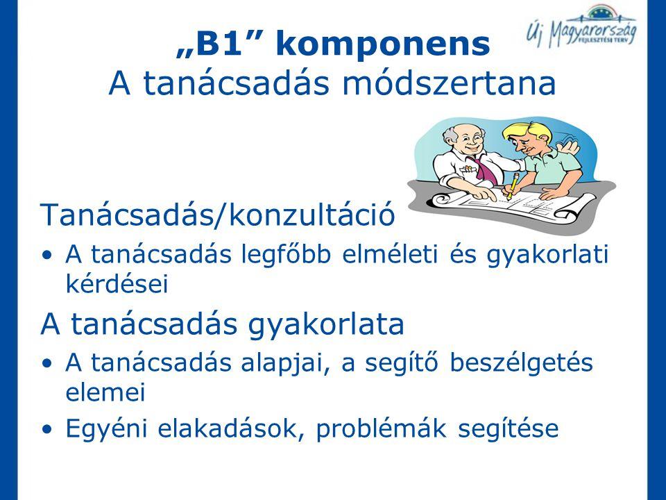 """""""B1"""" komponens A tanácsadás módszertana Tanácsadás/konzultáció A tanácsadás legfőbb elméleti és gyakorlati kérdései A tanácsadás gyakorlata A tanácsad"""