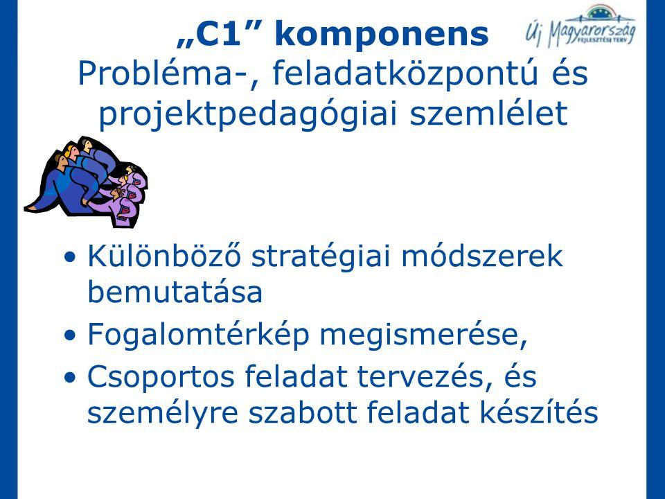 """""""C1"""" komponens Probléma-, feladatközpontú és projektpedagógiai szemlélet Különböző stratégiai módszerek bemutatása Fogalomtérkép megismerése, Csoporto"""