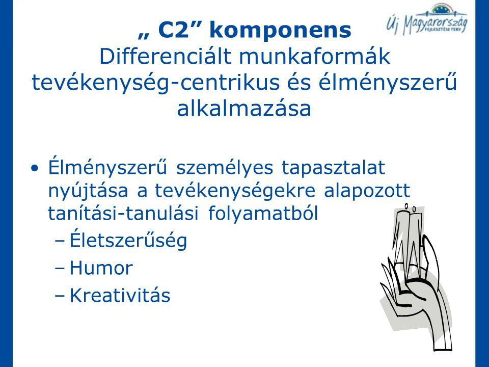 """"""" C2"""" komponens Differenciált munkaformák tevékenység-centrikus és élményszerű alkalmazása Élményszerű személyes tapasztalat nyújtása a tevékenységekr"""