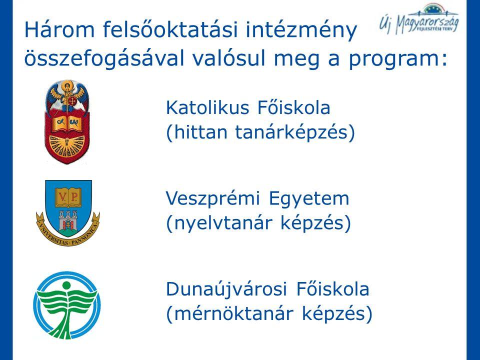 Három felsőoktatási intézmény összefogásával valósul meg a program: Veszprémi Egyetem (nyelvtanár képzés) Katolikus Főiskola (hittan tanárképzés) Duna