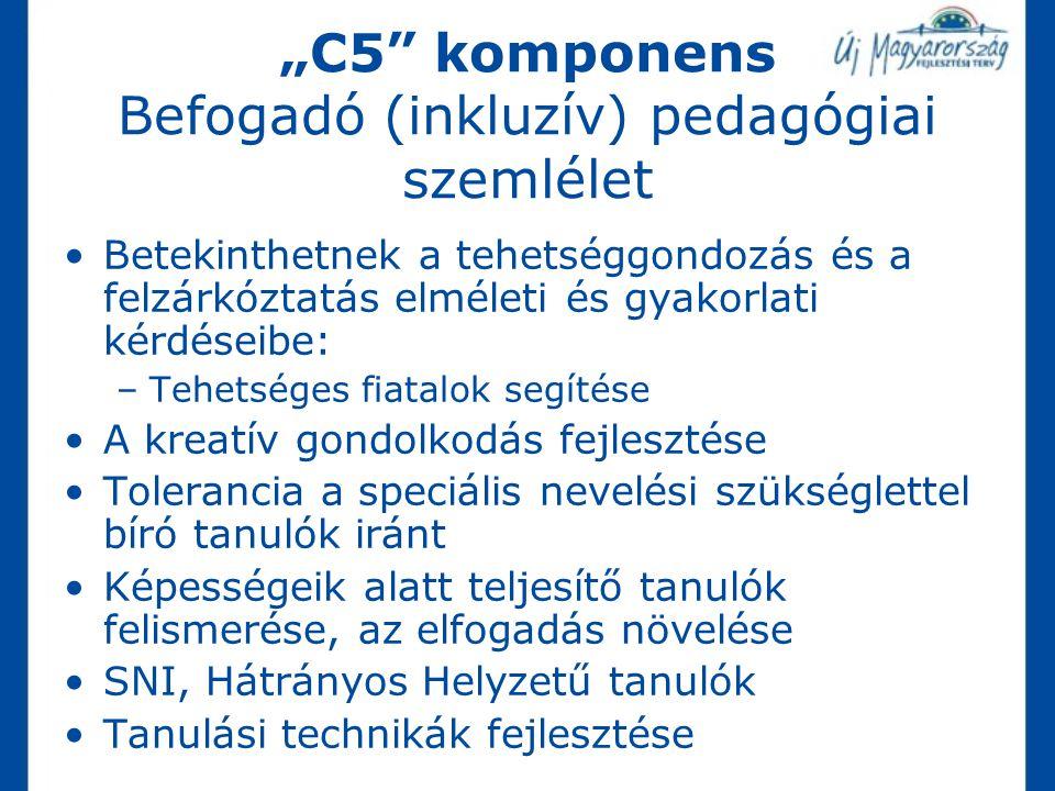 """""""C5"""" komponens Befogadó (inkluzív) pedagógiai szemlélet Betekinthetnek a tehetséggondozás és a felzárkóztatás elméleti és gyakorlati kérdéseibe: –Tehe"""