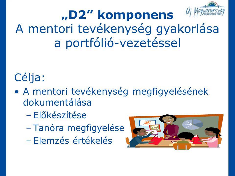 """""""D2"""" komponens A mentori tevékenység gyakorlása a portfólió-vezetéssel Célja: A mentori tevékenység megfigyelésének dokumentálása –Előkészítése –Tanór"""