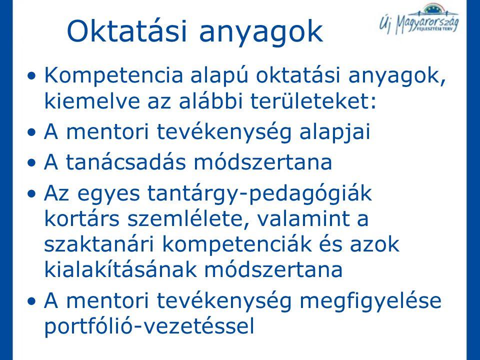 Oktatási anyagok Kompetencia alapú oktatási anyagok, kiemelve az alábbi területeket: A mentori tevékenység alapjai A tanácsadás módszertana Az egyes t