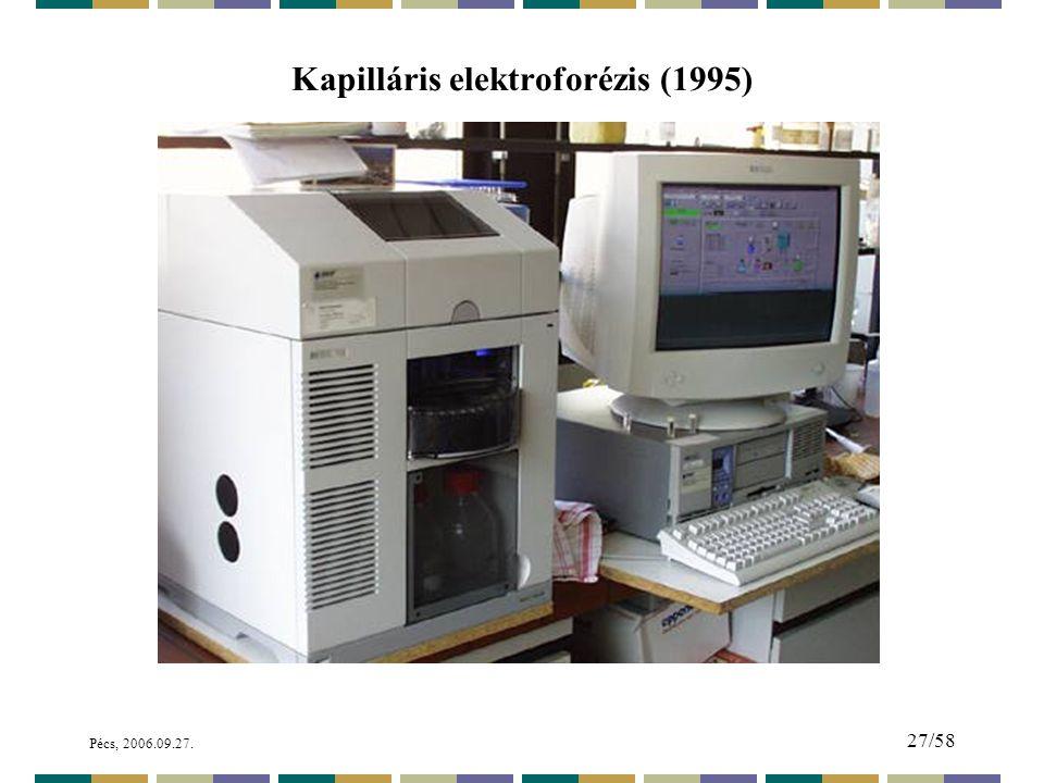 Pécs, 2006.09.27. 27/58 Kapilláris elektroforézis (1995)