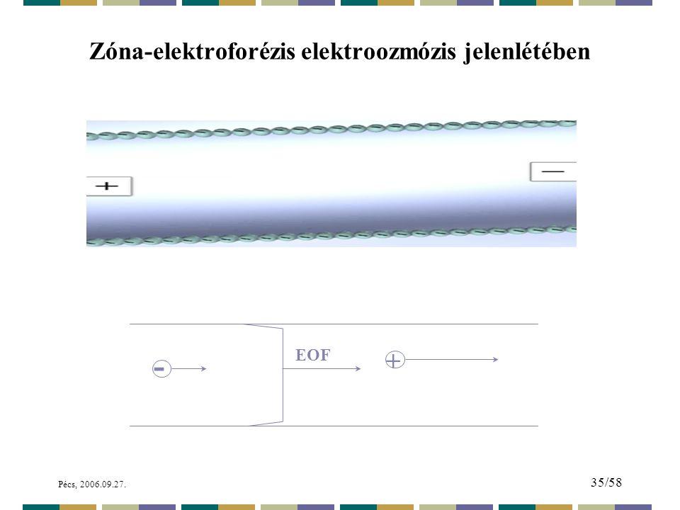 Pécs, 2006.09.27. 35/58 Zóna-elektroforézis elektroozmózis jelenlétében - + EOF