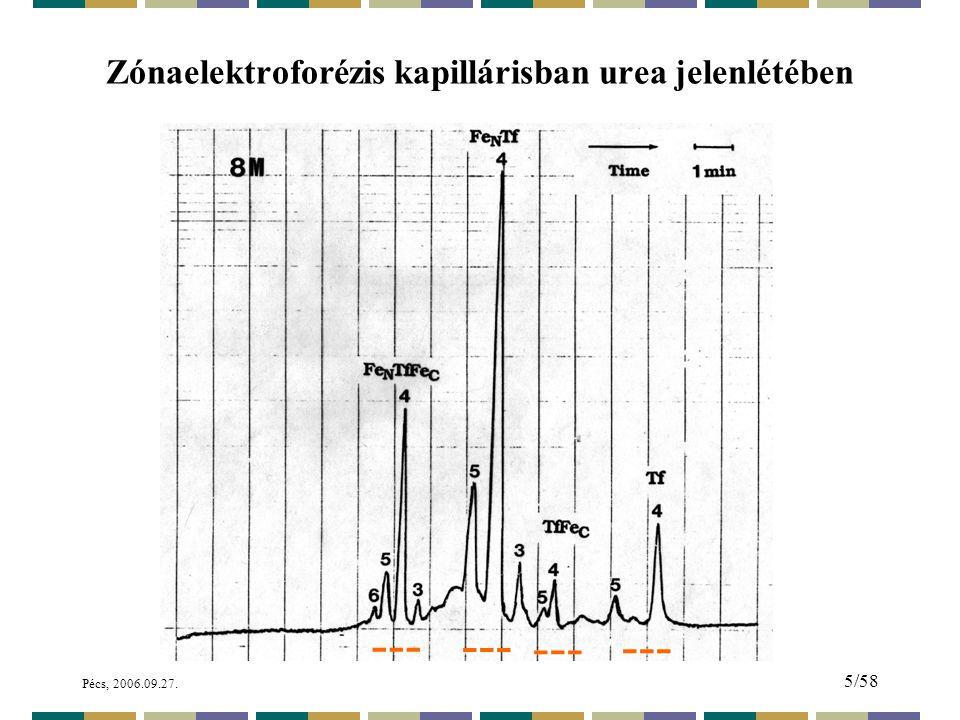 Pécs, 2006.09.27. 5/58 Zónaelektroforézis kapillárisban urea jelenlétében ---