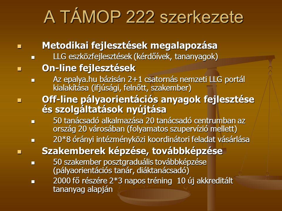 A TÁMOP 222 szerkezete Metodikai fejlesztések megalapozása Metodikai fejlesztések megalapozása LLG eszközfejlesztések (kérdőívek, tananyagok) LLG eszk