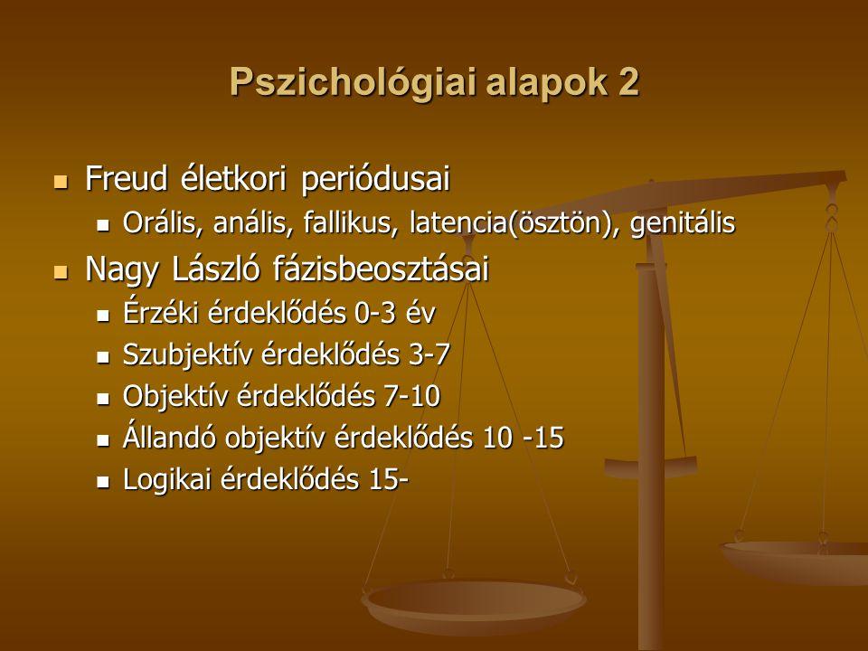 Pszichológiai alapok 2 Freud életkori periódusai Freud életkori periódusai Orális, anális, fallikus, latencia(ösztön), genitális Orális, anális, fallikus, latencia(ösztön), genitális Nagy László fázisbeosztásai Nagy László fázisbeosztásai Érzéki érdeklődés 0-3 év Érzéki érdeklődés 0-3 év Szubjektív érdeklődés 3-7 Szubjektív érdeklődés 3-7 Objektív érdeklődés 7-10 Objektív érdeklődés 7-10 Állandó objektív érdeklődés 10 -15 Állandó objektív érdeklődés 10 -15 Logikai érdeklődés 15- Logikai érdeklődés 15-