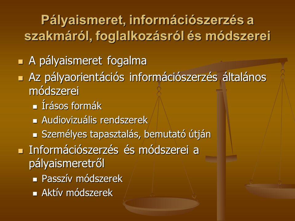 Pályaismeret, információszerzés a szakmáról, foglalkozásról és módszerei A pályaismeret fogalma A pályaismeret fogalma Az pályaorientációs információszerzés általános módszerei Az pályaorientációs információszerzés általános módszerei Írásos formák Írásos formák Audiovizuális rendszerek Audiovizuális rendszerek Személyes tapasztalás, bemutató útján Személyes tapasztalás, bemutató útján Információszerzés és módszerei a pályaismeretről Információszerzés és módszerei a pályaismeretről Passzív módszerek Passzív módszerek Aktív módszerek Aktív módszerek