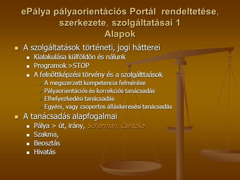 ePálya pályaorientációs Portál rendeltetése, szerkezete, szolgáltatásai 1 Alapok A szolgáltatások történeti, jogi hátterei A szolgáltatások történeti,