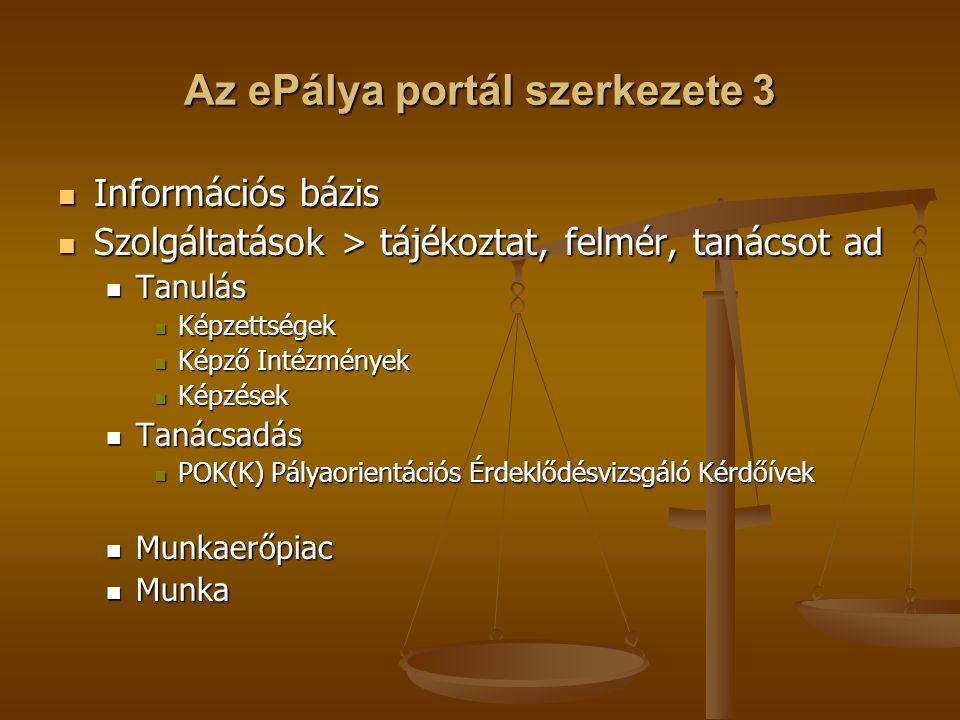 Az ePálya portál szerkezete 3 Információs bázis Információs bázis Szolgáltatások > tájékoztat, felmér, tanácsot ad Szolgáltatások > tájékoztat, felmér, tanácsot ad Tanulás Tanulás Képzettségek Képzettségek Képző Intézmények Képző Intézmények Képzések Képzések Tanácsadás Tanácsadás POK(K) Pályaorientációs Érdeklődésvizsgáló Kérdőívek POK(K) Pályaorientációs Érdeklődésvizsgáló Kérdőívek Munkaerőpiac Munkaerőpiac Munka Munka