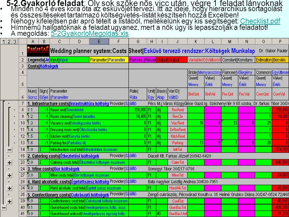 1 munkalapsor = 1 rekord módszer: Listák használata 4 A listák használata jelentette korlátozások: Nem lehet listát tenni webes lekérdezés, külső adat