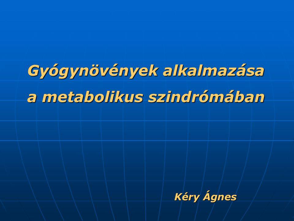 """Metabolikus szindróma """"Halálos négyes Kardiovaszkuláris kockázati tényezők csoportja Jellemzői: diszlipidémia, magas vérnyomás, elhízás, inzulinrezisztencia A metabolikus szindróma definíciója (IDF = Nemzetközi Diabetes Szövetség; 2005): - centrális típusú elhízás Az alábbiak közül kettő vagy több: - szérumtriglicerid tartalom: > 1,7 mmol/l, vagy emiatt folytatott kezelés - szérumtriglicerid tartalom: > 1,7 mmol/l, vagy emiatt folytatott kezelés - szérum-HDL-koleszterin-tartalom férfiaknál < 1,03; nőknél < 1,29 vagy emiatt folytatott kezelés - szérum-HDL-koleszterin-tartalom férfiaknál < 1,03; nőknél < 1,29 vagy emiatt folytatott kezelés - éhomi vércukorszint ≥ 5,6 mmol/l; illetve ismert 2-es típusú diabetes mellitus - éhomi vércukorszint ≥ 5,6 mmol/l; illetve ismert 2-es típusú diabetes mellitus Önnáló klinikai entitas."""