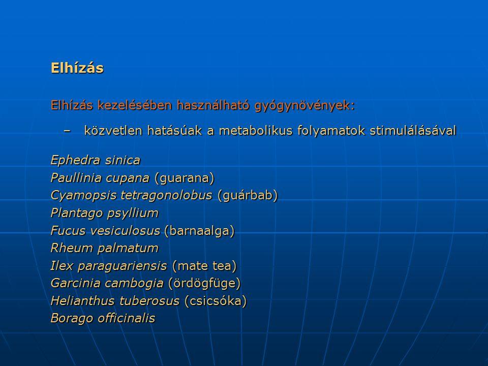 Elhízás Elhízás kezelésében használható gyógynövények: – közvetlen hatásúak a metabolikus folyamatok stimulálásával – közvetlen hatásúak a metabolikus folyamatok stimulálásával Ephedra sinica Paullinia cupana (guarana) Cyamopsis tetragonolobus (guárbab) Plantago psyllium Fucus vesiculosus (barnaalga) Rheum palmatum Ilex paraguariensis (mate tea) Garcinia cambogia (ördögfüge) Helianthus tuberosus (csicsóka) Borago officinalis
