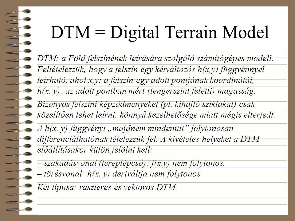 DTM = Digital Terrain Model DTM: a Föld felszínének leírására szolgáló számítógépes modell. Feltételezzük, hogy a felszín egy kétváltozós h(x,y) függv